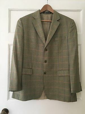 "Vintage Men's Sports Jacket Daks Green Herringbone Chest 40"" Suit Tweed Blazer"