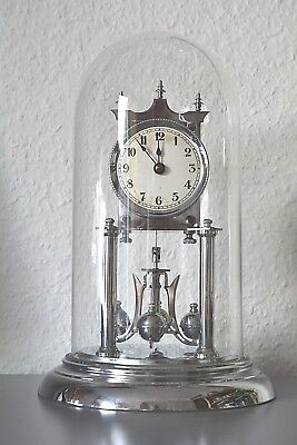Vintage Anniversary - 400 Day glass dome mantle clock. Made in Germany. Working