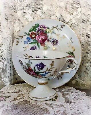 Antique DEMITASSE Handpainted Footed CUP & SAUCER Marked & Numbered