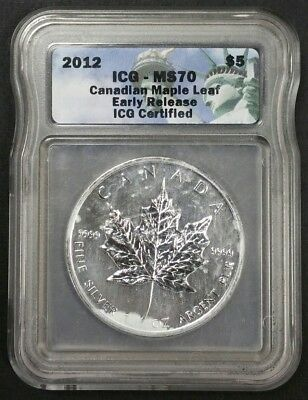 2012 $5 Canada 1 Oz .999 Fine Silver Maple Leaf MS 70 ICG Certified Early Coin