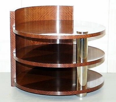 Stunning Huge Walnut Round Cocktail Side End Wind Table