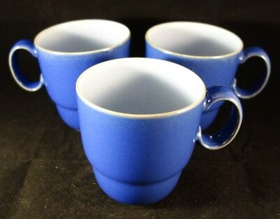 Set of 3 Denby Langley Everyday BLUEBERRY Coffee Tea Cups Mugs Perfect Condition