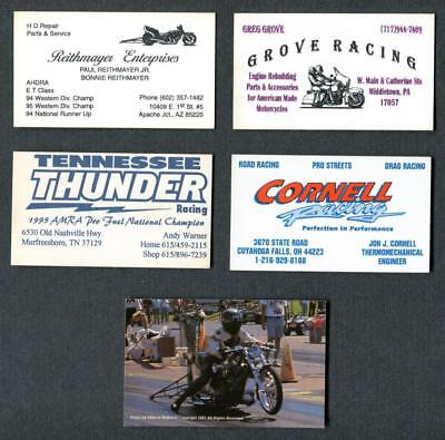 Lot of 5 Vintage Harley Drag Racing Business Cards-TN Thunder- B&M Cycles-MORE