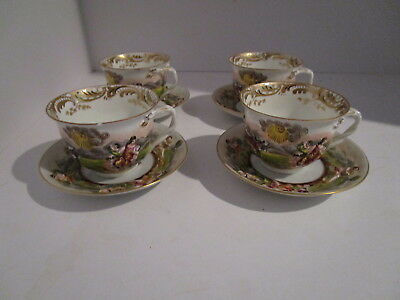 Set of 4 Ginori Capodimonte Armorial Demitasse Cups & Saucers 19th Century