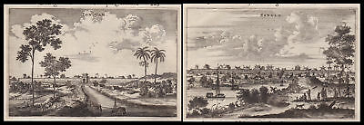 1668 Sanglo China Asia view city Ansicht Stadt Kupferstich antique print Nieuhof