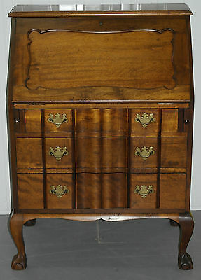 Lovely 1950's Serpentine Fronted Mahogany Chippendale Writing Bureau Claw & Ball