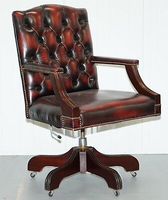 Vintage Bevan Funnell Directors Oxblood Leather Chesterfield Captains Chair