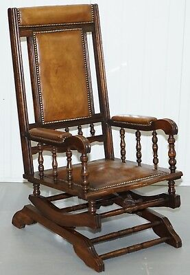 Antique Victorian American Rocking Armchair Brown Leather Mahogany Lovely Piece
