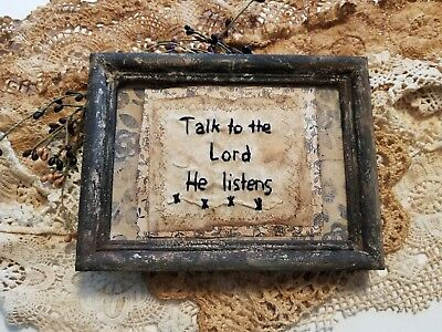 """Primitive Country Stitchery Home Decor 5x7 UNFRAMED """"the Lord"""" Embroidery"""