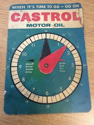 1960s Original Vintage CASTROL Motor Oil Parking Time Display Disc Sign