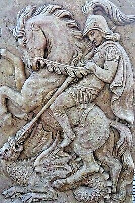 Very Old Marble Plaque Saint George Slaying The Dragon From London Building Rare