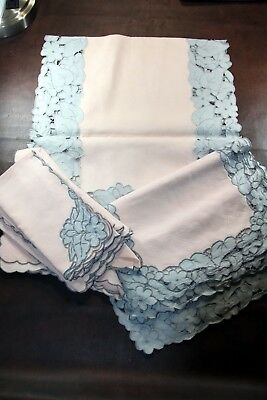 Set of 6 Pale Pink & Gray Lace Trimmed Placemats & Napkins with Center Runner 13