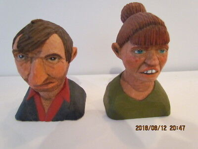 "2 FUNNY Vtg Signed & Numbered 3 x 3.5"" Painted Carved Wood Folk Art Man & Woman!"