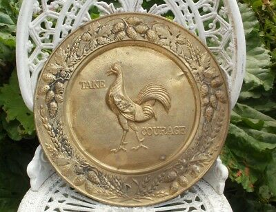 """Vintage Courage Ales """"Take Courage"""" Brass Plaque"""
