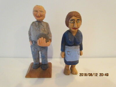 "2 FUNNY Vtg Signed & Numbered 4"" & 4.5"" Painted Carved Wood Folk Art Man & Woman"