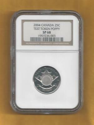 2004 Canada Test Token 25 Cents Ngc Sp 68