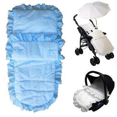 Broderie Anglaise Footmuff Blue Baby Romany Lace Universal Pushchair Cosytoes