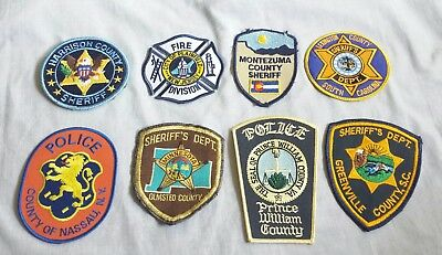 Lot of 8 Police Sheriff Fire EMS Patches Various Agencies 8/18 - 014