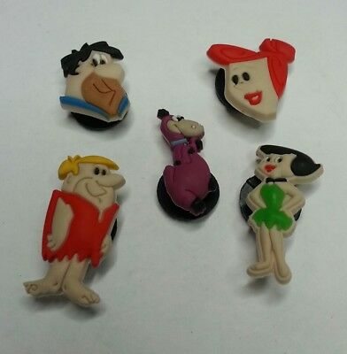 The Flintstones 5pc SHOE CHARMS LOT FOR CROC SHOES JIBBITZ BRACELETS Dino Fred +