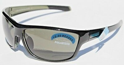 3171da63205 SUNCLOUD Conductor Bifocal Readers +2.00 POLARIZED Sunglasses Black Gray  Smith