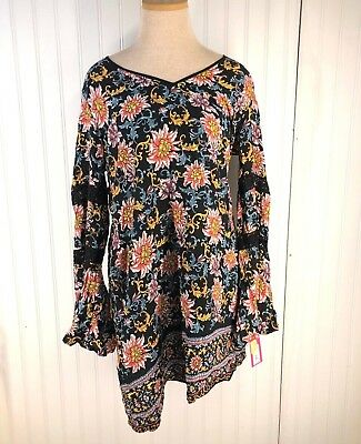 97ebcc5227 Xhilaration Junior Women s Bell Sleeve Shift Dress - Black - Size  L NEW