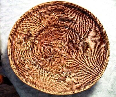 OLD ANTIQUE / Vintage HAND WOVEN DECORATED BASKET ~ Large Bowl Style Basket