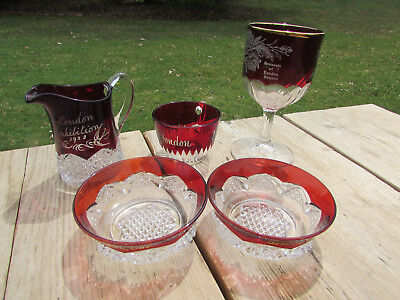 London Ontario Ruby Flash Glass 1922 Exhibition Creamer Candy Dish Etc 5 pcs