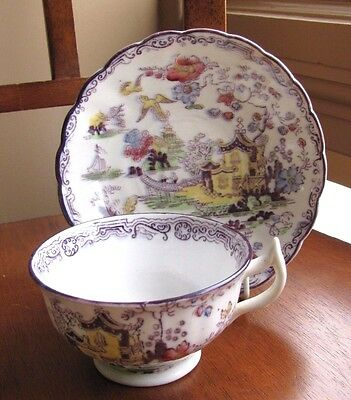 Antique Shore, Coggins & Holt TEA CUP & SAUCER Chinoiserie English PEKING PLUM