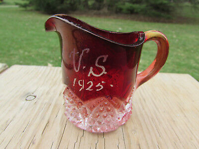 1925 Ruby Flash Vintage Souvenir Cream Pitcher Glass 2 3/4 Inch High