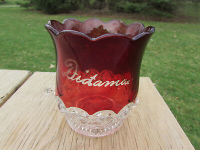 Dictamax Ruby Flash Glass Center Bowl Dish Pedal Vase Heavy 4 1/2 inches high