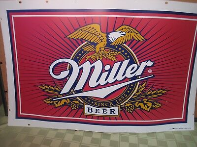 Miller Beer Sign Plastic Vinyl Retail 1996 Advertising Bar For Light? Mancave