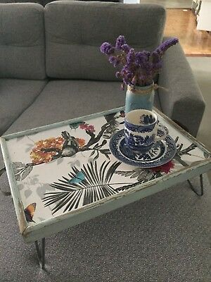 Vintage Breakfast Serving Tray Folding Stand Stunning Unique Shabby Wall Papered