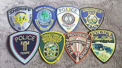 Lot of 8 Police Sheriff Fire EMS Patches Various Agencies 8/18 - 015