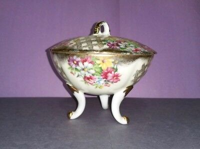 Lefton Hand Painted Footed Covered Candy Dish 1084 Porcelain Vintage