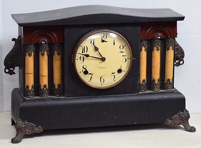 ANTIQUE W.L.GILBERT All Wood 2 Chime Rod Mantle Clock Pillars Patina Arts Crafts