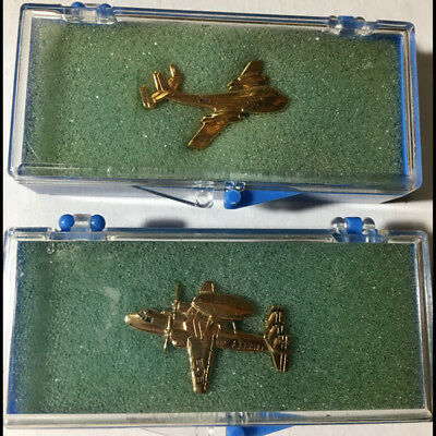 2 original vintage Grumman Aviation military navy air force pins - AWACS & other