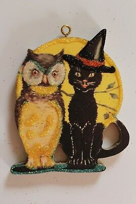 Owl & Black Cat * Halloween Ornament * Vtg Card Image * Glitter