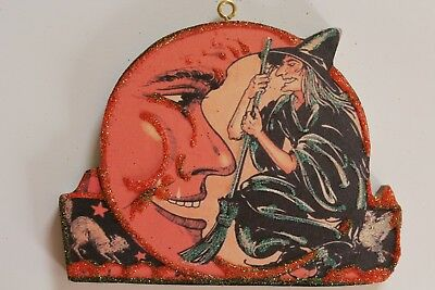 Witch and Man in the Moon * Halloween Ornament * Vtg Card Image * Glitter