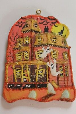 Haunted House * Halloween Ornament * Vtg Card Image * Glitter