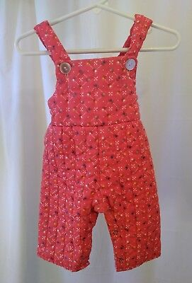 Vintage Baby Quilted Bib Overalls Size 9 months Red floral EXCELLENT CONDITION