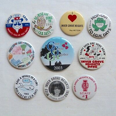 Lot of 10 Inver Grove Heights Minnesota I.G.H. Days pinback buttons - MN