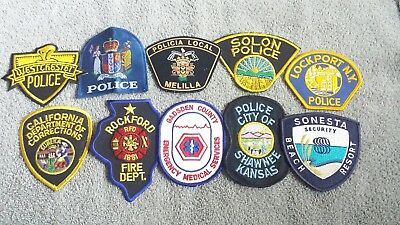 Lot of 10 Police Sheriff Fire EMS Patches Various Agencies 8/18 - 018