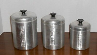 Vintage Aluminum Nesting Canister Set Coffee Tea Grease Strainer Made In Italy