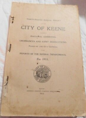Annual Town Report City Of Keene NH 1911Vintage Geneology