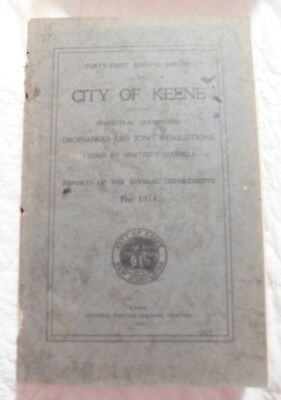 Annual Town Report City Of Keene NH1914 Vintage Genealogy family search
