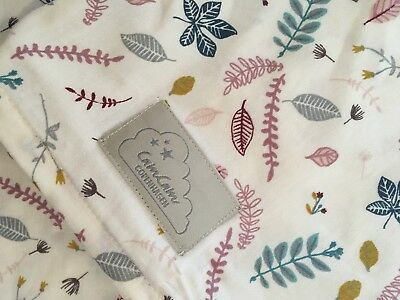 🍃 Beautiful CAM CAM Cot Bed Linen Pressed Leaves Floral Print QUILT PILLOWCASE