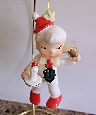 Ceramic Vintage Christmas Ornament Pixie Elf with Candle Bell Holt Howard Japan