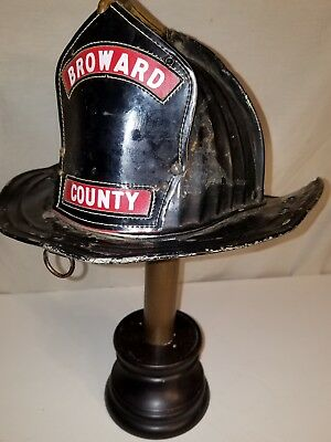 Vintage CAIRNS Fire Helmet Aluminum, brass, leather, Broward, Florida, pre 1950
