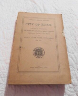 Annual Town Report City Of Keene NH1923 Vintage Genealogy family search