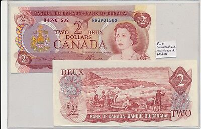 Vintage Bank Of Canada 1974 2 Consecutive Numbered $2 Bills Uncirculated